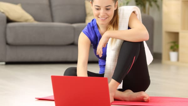 Female doing online exercise class