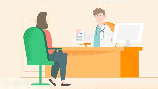 Animated scene of patient speaking to consultant
